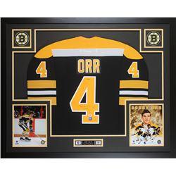 """Bobby Orr Signed LE 35x43 Custom Framed Jersey Inscribed """"3x MVP"""" (PSA COA  Orr COA)"""