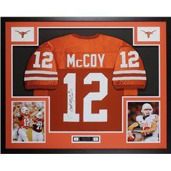 Colt McCoy Signed 35x43 Custom Framed Jersey (JSA COA)