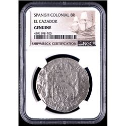 Spanish Colonial 8 Reales Silver Shipwreck Coin from the El Cazador (NGC Encapsulated)
