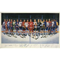 LE NHL 500 Goal Club 22x37 Lithograph Signed by (17) with Bobby Hull, Gordie Howe, Lanny Macdonald,