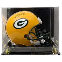 Davante Adams Signed Green Bay Packers Full-Size Helmet with High-Quality Display Case (JSA COA)