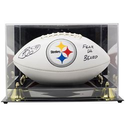 "Brett Keisel Signed Pittsburgh Steelers Logo Football Inscribed ""Fear Da Beard"" with High-Quality Di"