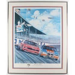 "Richard Petty Signed LE ""Firecracker Finish"" 25.5x31 Custom Framed Lithograph Display (JSA LOA  PA L"