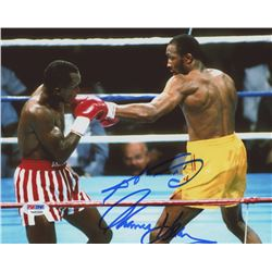 "Sugar Ray Leonard  Thomas ""Hitman"" Hearns Signed 8x10 Photo (PSA COA)"