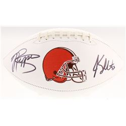 Jabrill Peppers  Joe Schobert Signed Cleveland Browns Logo Football (JSA COA)