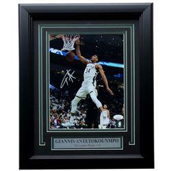 Giannis Antetokounmpo Signed Milwaukee Bucks 11x14 Custom Framed Photo Display (JSA COA)