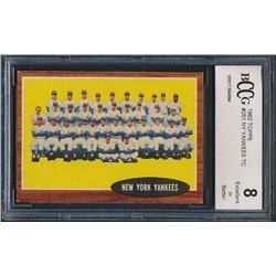 1962 Topps #251 New York Yankees Team Card (BCCG 8)