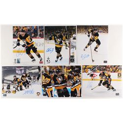 Lot of (6) Signed Pittsburgh Penguins 8x10 Photos with Conor Sheary, Chris Kunitz, Carter Rowney, Kr