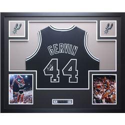 """George Gervin Signed 35"""" x 43"""" Custom Framed Jersey (JSA COA)"""