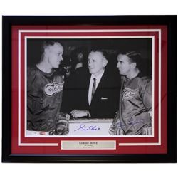 Gordie Howe  Ted Lindsay Signed Detroit Red Wings 22x27 Custom Framed Photo Display (PSA LOA  JSA Ho