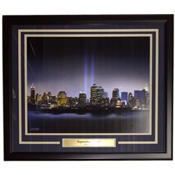 New York City September 11th 2001 Sky Line 22x27 Custom Framed Photo Display