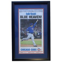 """Chicago Cubs """"Blue Heaven!"""" 18x28 Custom Framed Daily Herald Newspaper Display"""