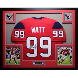 """J. J. Watt Signed 35"""" x 43"""" Custom Framed Jersey (JSA COA)"""