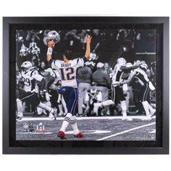 Tom Brady Signed New England Patriots 40x48 Custom Framed LE Photo (Steiner COA)