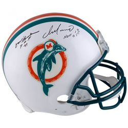 """Dan Marino  Don Shula Signed Miami Dolphins Full-Size Authentic On-Field Helmet Inscribed """"HOF 05"""""""