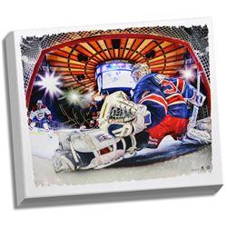 Henrik Lundqvist Signed New York Rangers 22x26 Photo on Canvas (Steiner COA)