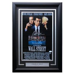 "Charlie Sheen Signed ""Wall Street"" 18x23 Custom Framed Photo Display (JSA COA)"