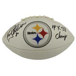 "Rocky Bleier Signed Pittsburgh Steelers Logo Football Inscribed ""4x SB Champ"" (Beckett COA)"