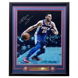 Ben Simmons Signed Philadelphia 76ers 20x24 Framed Photo Display With (2) Coins (UDA COA)
