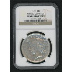 Mint Error - 1922 Peace Silver Dollar, Curved Clip @3:00 (NGC VF 25)
