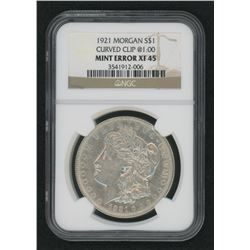 Mint Error - 1921 Morgan Silver Dollar, Curved Clip @1:00 (NGC XF45)