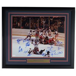 """1980 """"Miracle on Ice"""" Team USA 22x27 Custom Framed Photo Display Team-Signed by (14) with Mike Eruzi"""