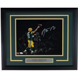 Aaron Rodgers Signed Green Bay Packers 16x20 Custom Framed Photo Display (Fanatics Hologram)