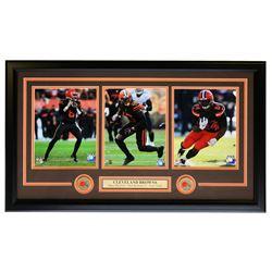 Baker Mayfield, Nick Chubb  Odell Beckham Jr. Cleveland Browns 19x31 Custom Framed Matted Photo Disp