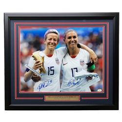 Alex Morgan  Megan Rapinoe Signed Team USA 22x27 Custom Framed Photo Display (JSA COA)