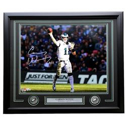 "Carson Wentz Signed Philadelphia Eagles 22x27 Custom Framed Photo Display Inscribed ""AO1"" (Fanatics"
