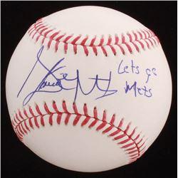 """Steven Matz Signed OML Baseball Inscribed """"Lets Go Mets"""" (JSA COA)"""