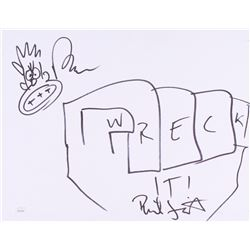 """Rich Moore  Phil Johnston Signed 11x14 """"Wreck-It Ralph"""" Sketch on Sketch Board Inscribed """"Wreck It!"""""""