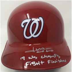 "Juan Soto Signed Washington Nationals LE Full-Size Batting Helmet Inscribed ""19 WS Champs""  ""Fight F"