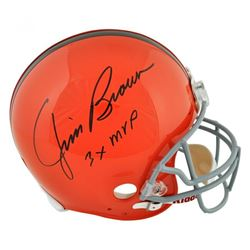 "Jim Brown Signed Cleveland Browns Full-Size Authentic On-Field Helmet Inscribed ""3x MVP"" (Fanatics H"