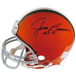 "Jim Brown Signed Cleveland Browns Full-Size Authentic On-Field Helmet Inscribed ""HOF 71"" (Fanatics H"