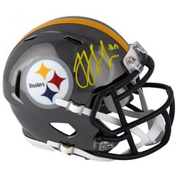 JuJu Smith-Schuster Signed Pittsburgh Steelers Chrome Speed Mini-Helmet (Fanatics Hologram)