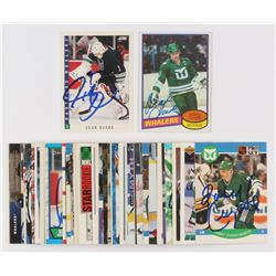 Lot of (50) Signed Hartford Whalers Hockey Cards with 1980-81 Topps #160 Mark Howe, 1993-94 Score #1