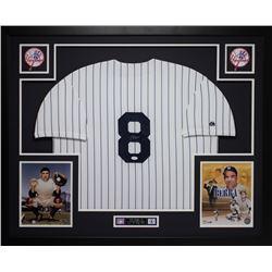 Yogi Berra Signed 35x43 Custom Framed Jersey (JSA COA)