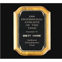 1996 Brett Favre Professional Athlete of the Year Award Plaque (Provenance LOA)