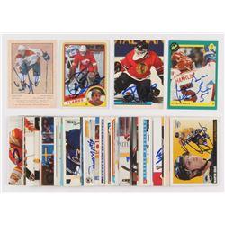 Lot of (50) Signed Assorted Hockey Cards with 1991 Classic #27 Martin Hamrlik, 2002-03 Parkhurst Ret