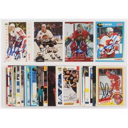 Lot of (50) Signed Assorted Hockey Cards with 1992-93 Stadium Club #265 Geoff Courtnall, 1991-92 Sco