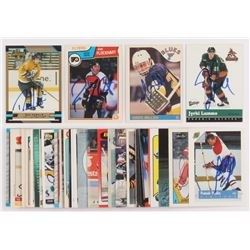 Lot of (50) Signed Assorted Hockey Cards with 1983-84 O-Pee-Chee #264 Ron Flockhart, 2000-01 Upper D