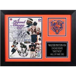 "Walter Payton Signed Chicago Bears 14x18.5 Custom Framed Photo Display Inscribed ""Sweetness""  ""16,72"