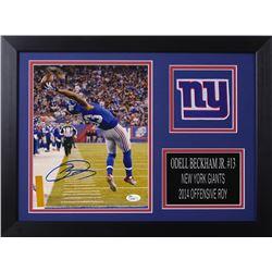 Odell Beckham Jr. Signed New York Giants 14x18.5 Custom Framed Photo Display (JSA COA)