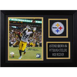 Antonio Brown Signed Pittsburgh Steelers 14x18.5 Custom Framed Photo Display (JSA COA)