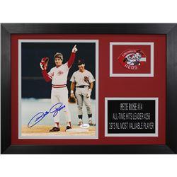 Pete Rose Signed Cincinnati Reds 14x18.5 Custom Framed Photo Display (JSA COA)