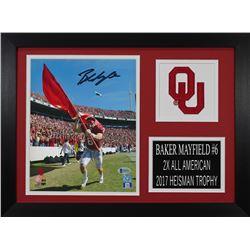 Baker Mayfield Signed Oklahoma Sooners 14x18.5 Custom Framed Photo Display (Beckett COA)