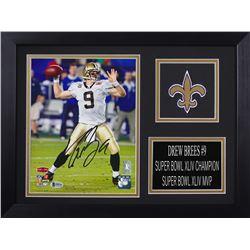 Drew Brees Signed New Orleans Saints 14x18.5 Custom Framed Photo Display (Beckett COA  Brees Hologra