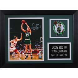 Larry Bird Signed Boston Celtics 14x18.5 Custom Framed Photo Display (Beckett COA)