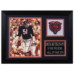 "Dick Butkus Signed Chicago Bears 14x18.5 Custom Framed Photo Display Inscribed ""HOF 79"" (TriStar Hol"